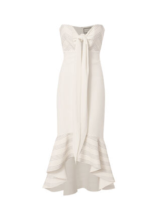 Florentina Tie Front Bustier Dress, WHITE, hi-res