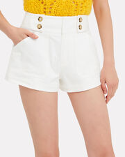 White Denim Sailor Shorts, WHITE, hi-res