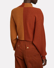 Milena Cropped Rib Knit Sweater, RED, hi-res