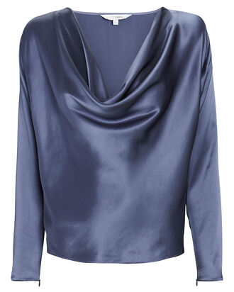 Quinn Silk Cowl Neck Blouse, DARK BLUE, hi-res