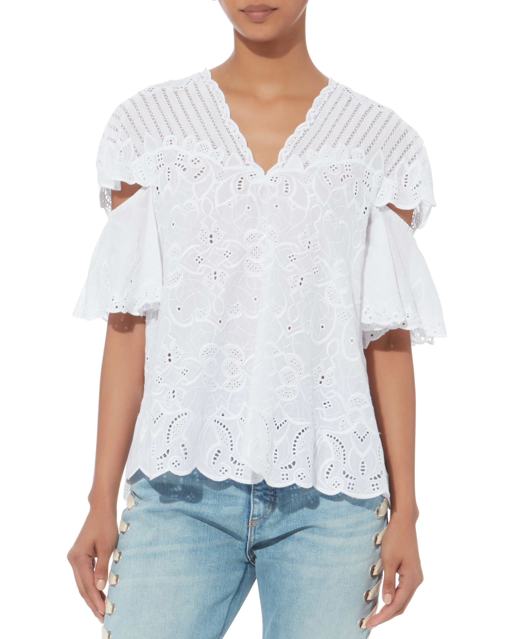 Cutout Embroidery Top, WHITE, hi-res
