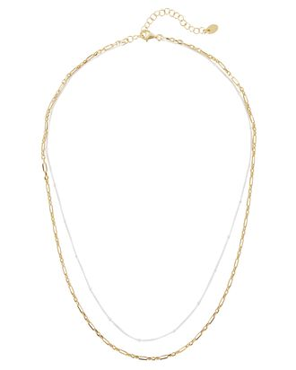 Mixed Metal Double Chain Necklace, GOLD/SILVER, hi-res