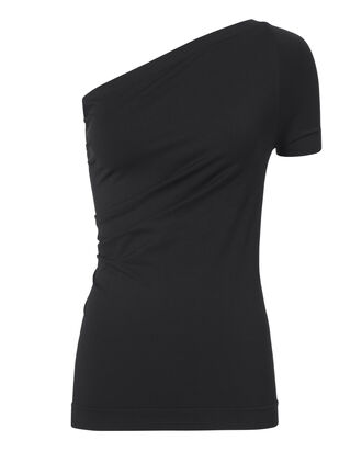 Boat Neck Black Seamless Top, BLACK, hi-res