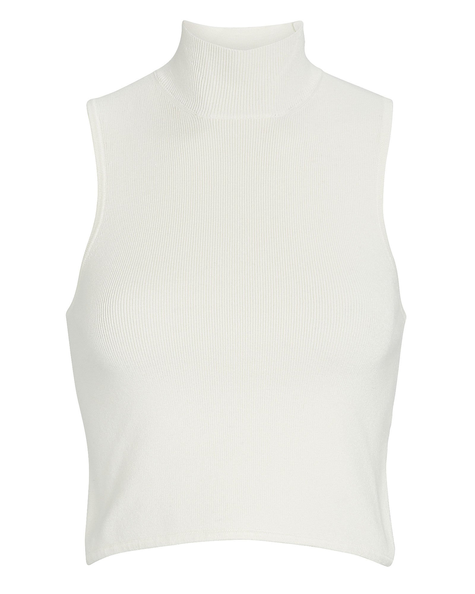 Holly Sleeveless Turtleneck Top, WHITE, hi-res