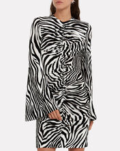 Velvet Ruched Zebra-Print Dress, BLK/WHT, hi-res