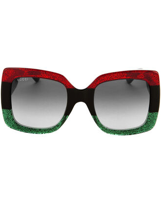 Oversized Square Glitter Sunglasses, COLORBLOCK, hi-res