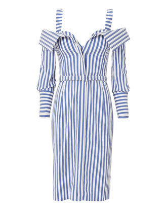 Bustier Striped Dress, BLUE-DRK, hi-res