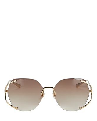 Oversized Rimless Sunglasses, BROWN, hi-res