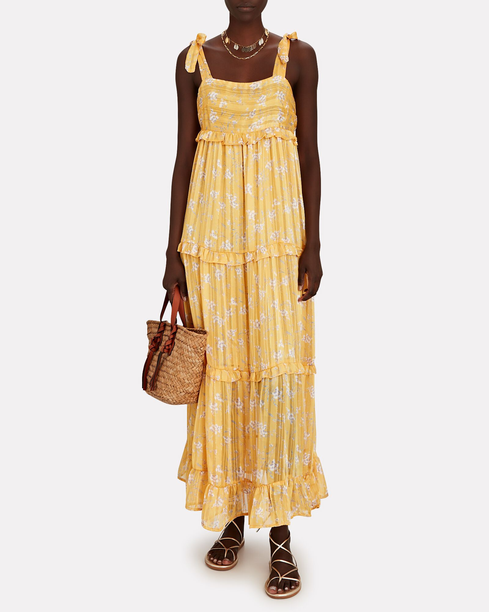 Octavia Sleeveless Floral Midi Dress, YELLOW, hi-res