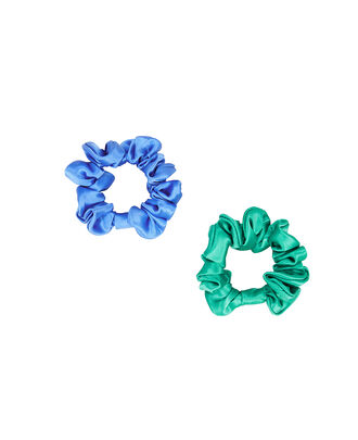 Set Of 2 Silk Scrunchies, BLUE/GREEN, hi-res