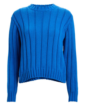 Iola Rib Knit Sweater, CERULEAN, hi-res