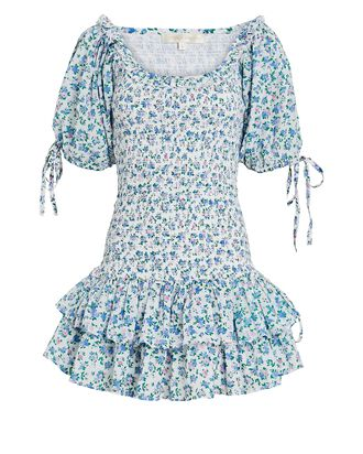 Violet Smocked Floral Cotton Dress, MULTI, hi-res