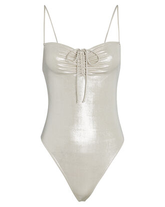 Ruched Lamé Jersey Bodysuit, GOLD, hi-res