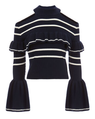 Cold Shoulder Frill Stripe Sweater, NAVY, hi-res