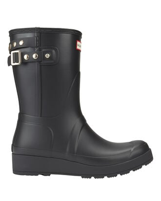 Original Studded-Strap Short Wedge Rain Boots, BLACK, hi-res