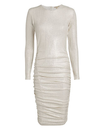 Ruched Gold Midi Dress, GOLD, hi-res