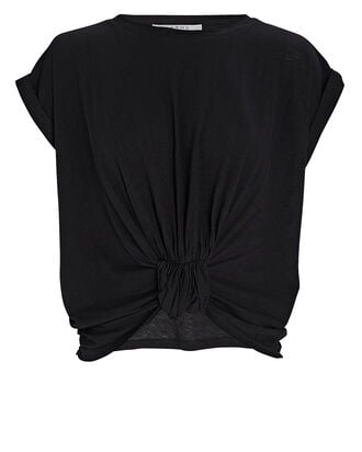 Rolled Knotted T-Shirt, BLACK, hi-res