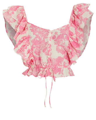 Avery Ruffled Toile Crop Top, PINK/WHITE, hi-res