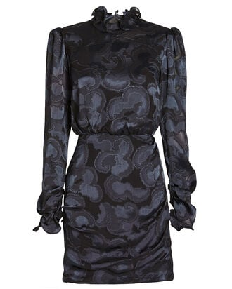 Rina Jacquard Crepe High Neck Dress, BLACK, hi-res