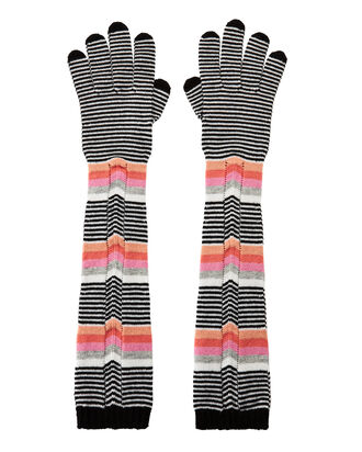 Multi-Stripe Long Gloves, BLK/WHT, hi-res