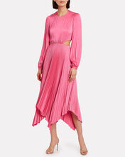 Naples Pleated Cut-Out Dress, PEONY, hi-res