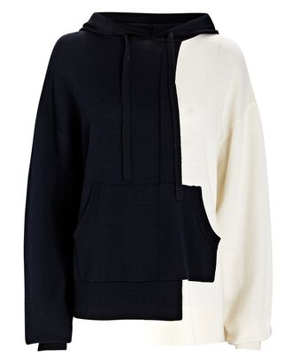 Hooded Colorblock Wool Sweater, NAVY/WHITE, hi-res
