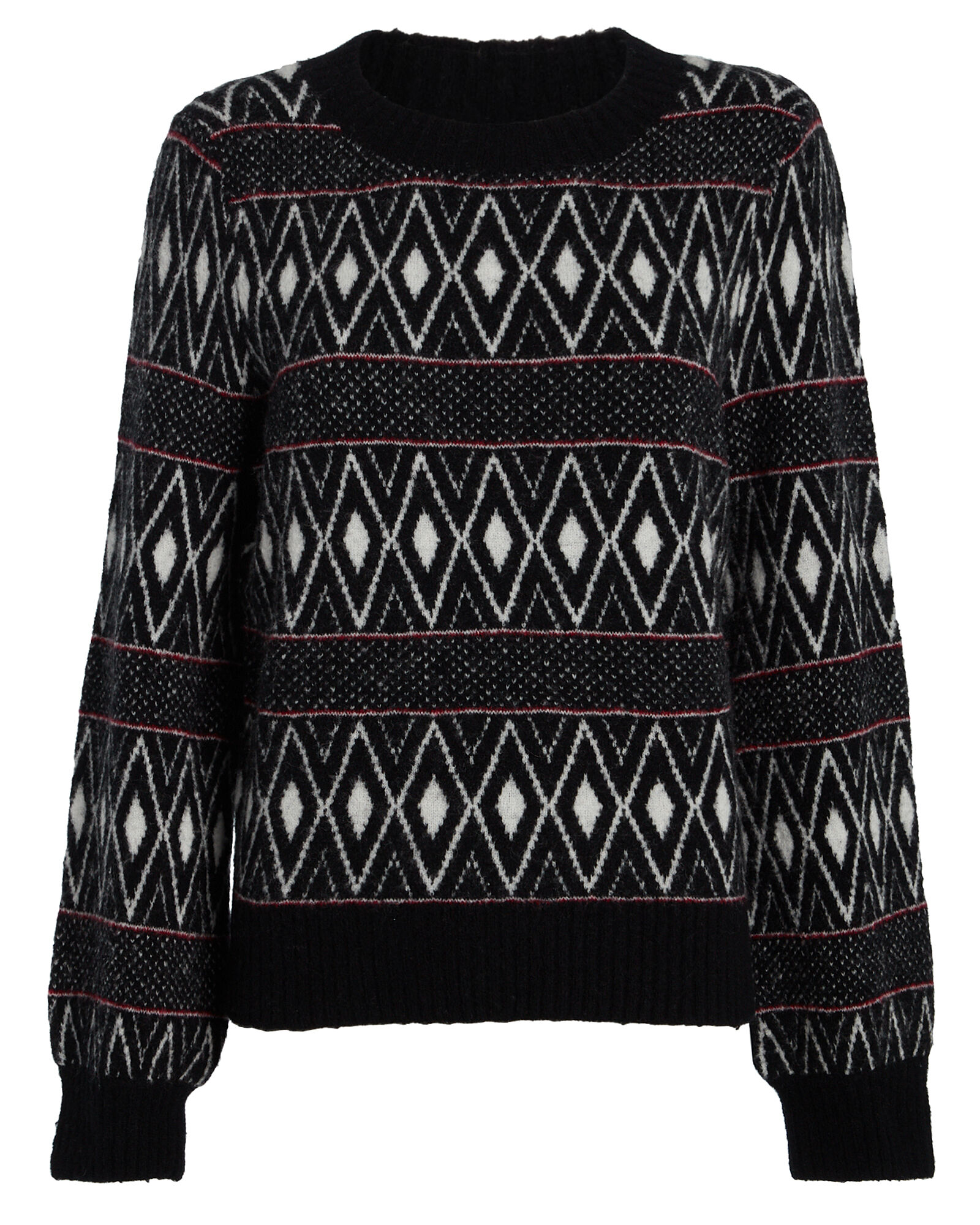 Ana Striped Fair Isle Sweater, BLACK/WHITE, hi-res