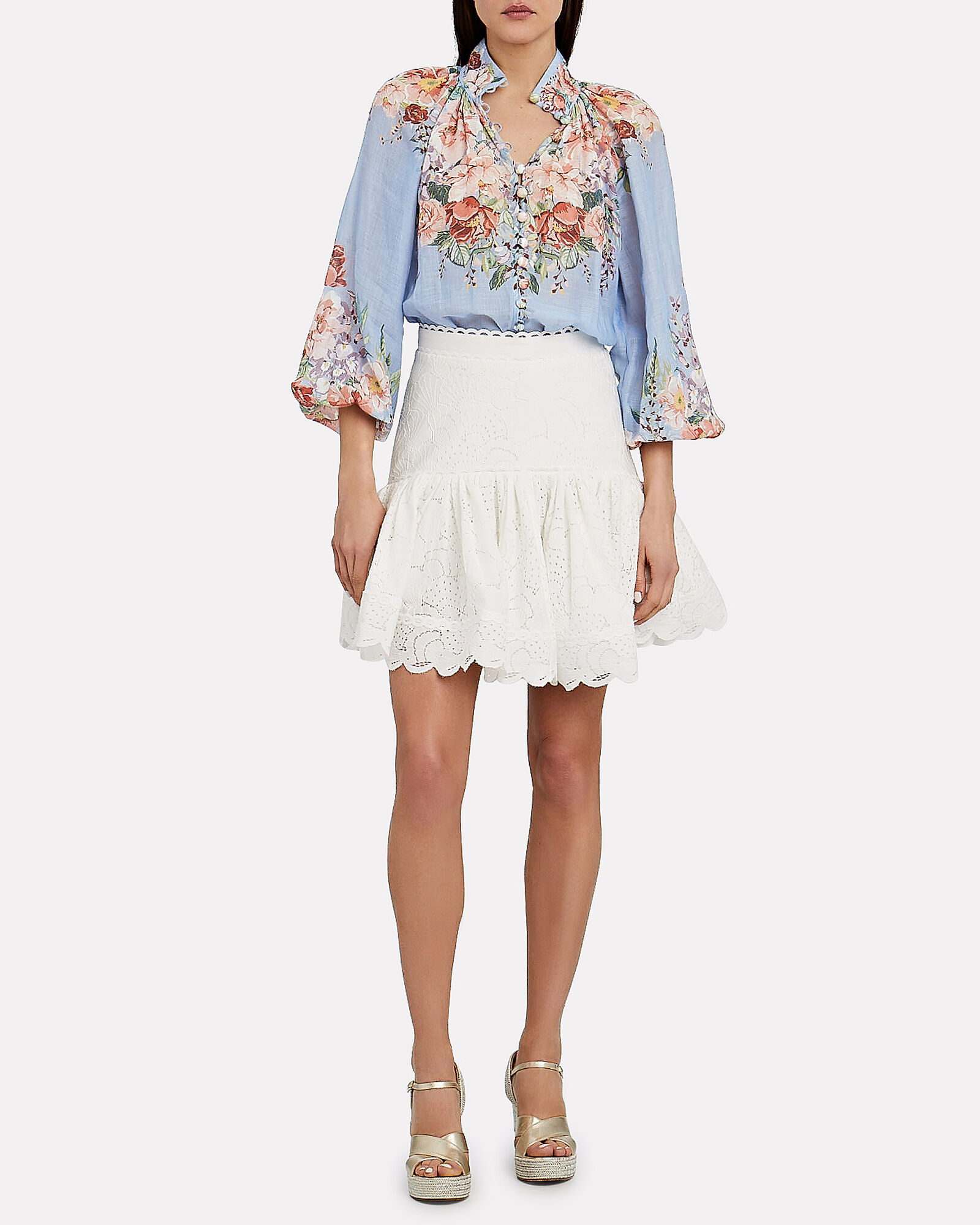 Bellitude Floral Balloon Sleeve Blouse, PALE BLUE, hi-res