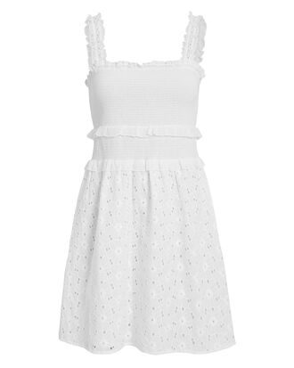 Lara Smocked Mini Dress, WHITE, hi-res