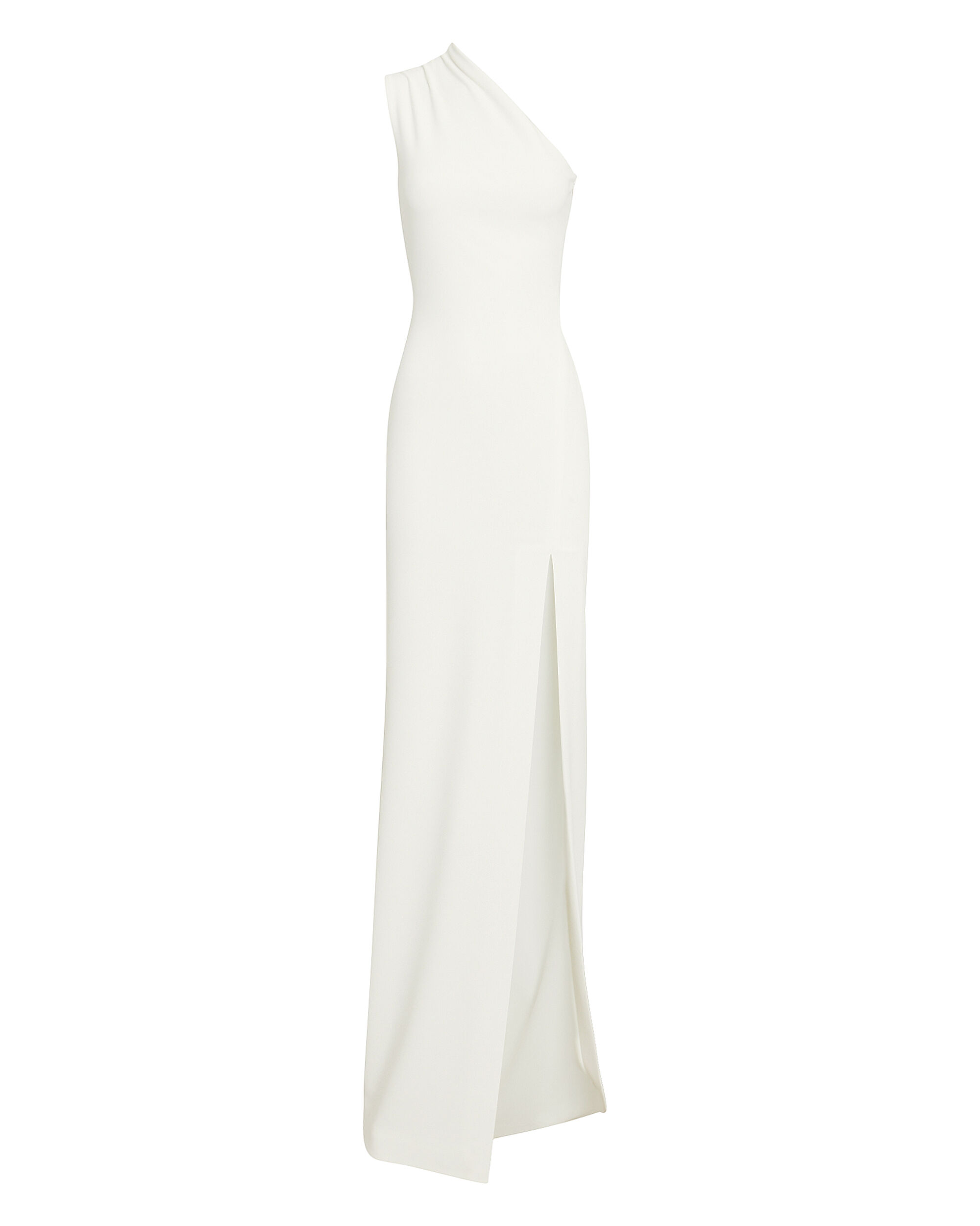 Avery One Shoulder White Gown, WHITE, hi-res