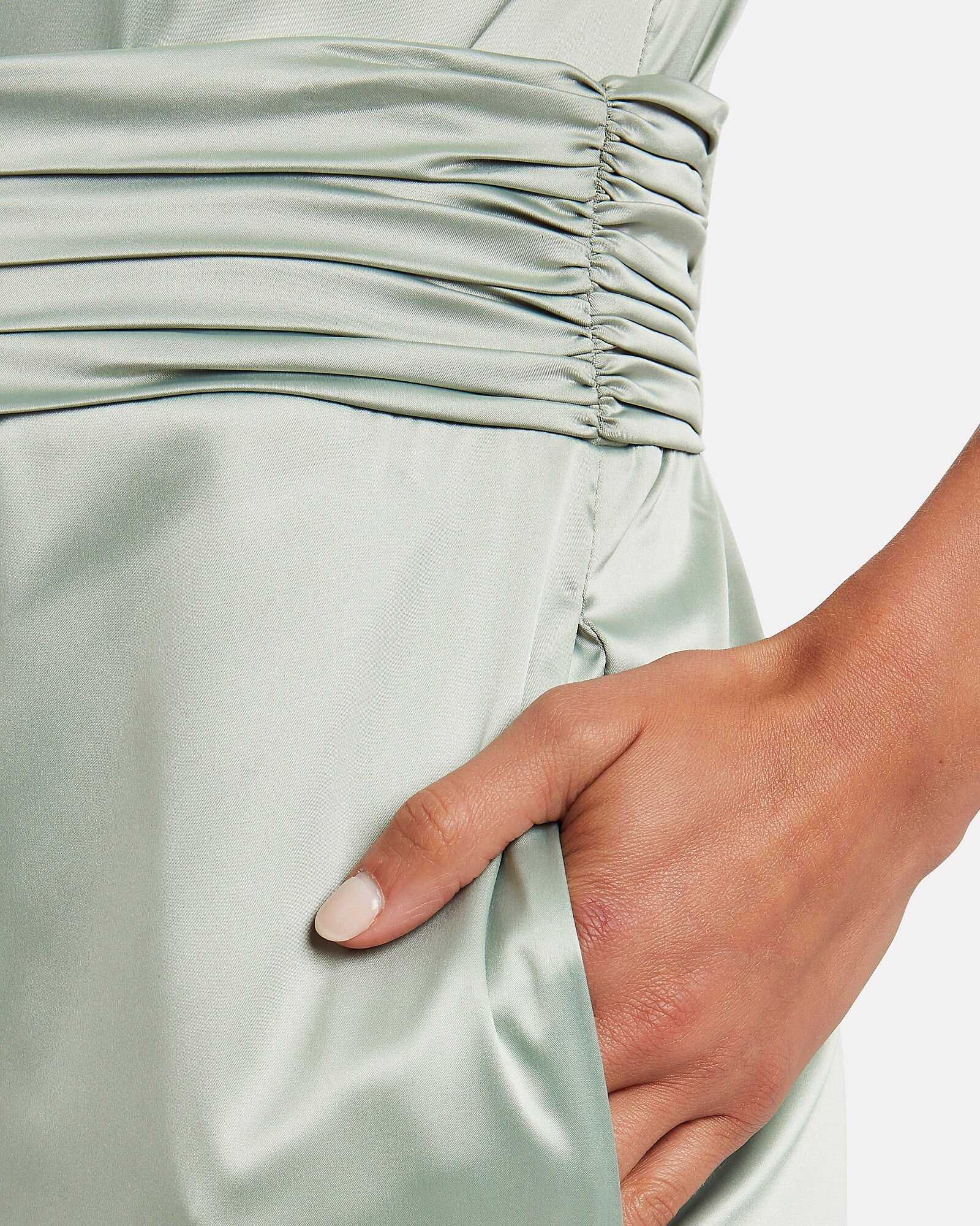 High-Rise Satin Trousers, MINT GREEN, hi-res