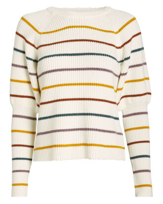 Keane Puff Sleeve Striped Sweater, IVORY/RAINBOW STRIPE, hi-res