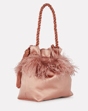 Feather-Trimmed Satin Clutch, PINK, hi-res