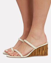 Eva Leather Wedge Slide Sandals, WHITE, hi-res