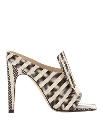 sr1 Striped Portofino Jacquard Sabot Sandals, BLACK/WHITE, hi-res