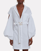 Jenga Belted Mini Shirt Dress, WHITE, hi-res