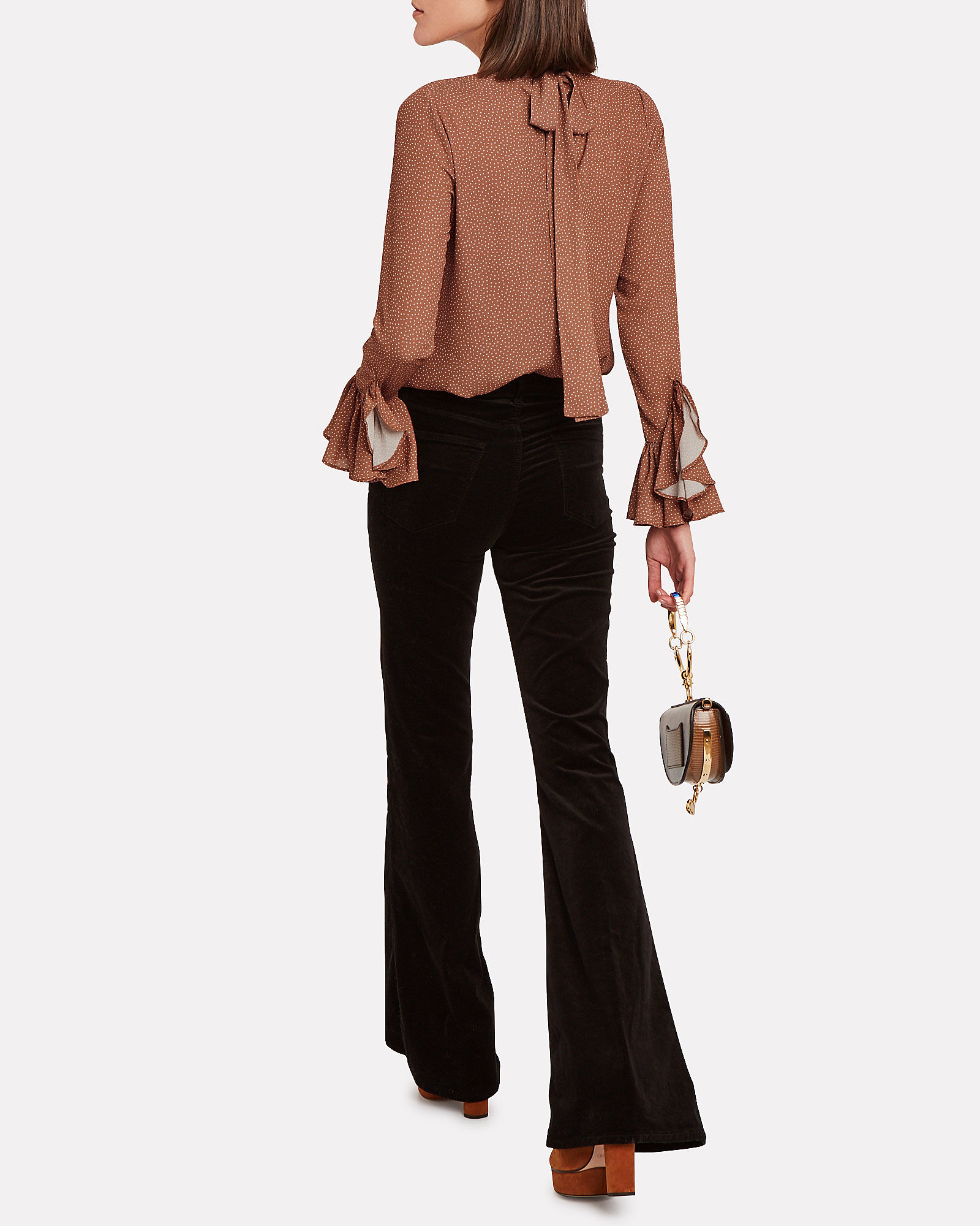 Odellia Tie-Neck Satin Blouse, SPOTTED SIENNA, hi-res