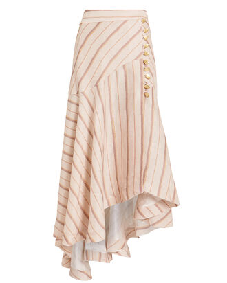 Cora Silk Linen Striped Skirt, BLUSH/STRIPE, hi-res