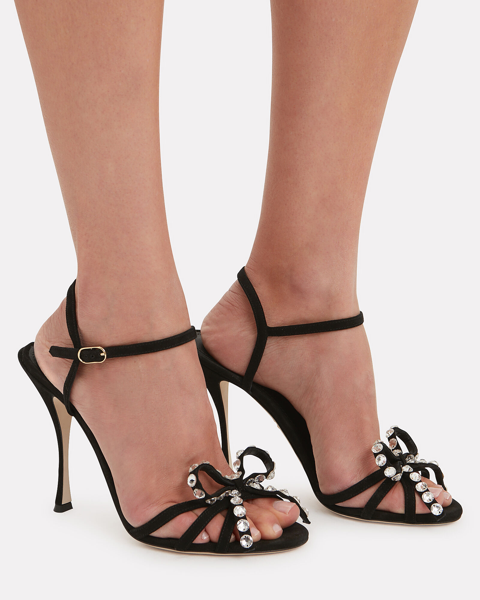 Dia Suede High Sandals, BLACK, hi-res