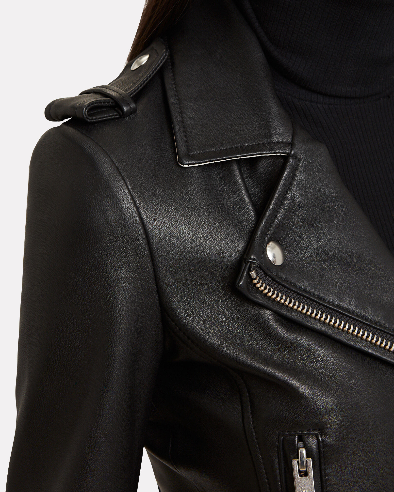 76a990163 Dylan Cropped Contrast Collar Moto Jacket
