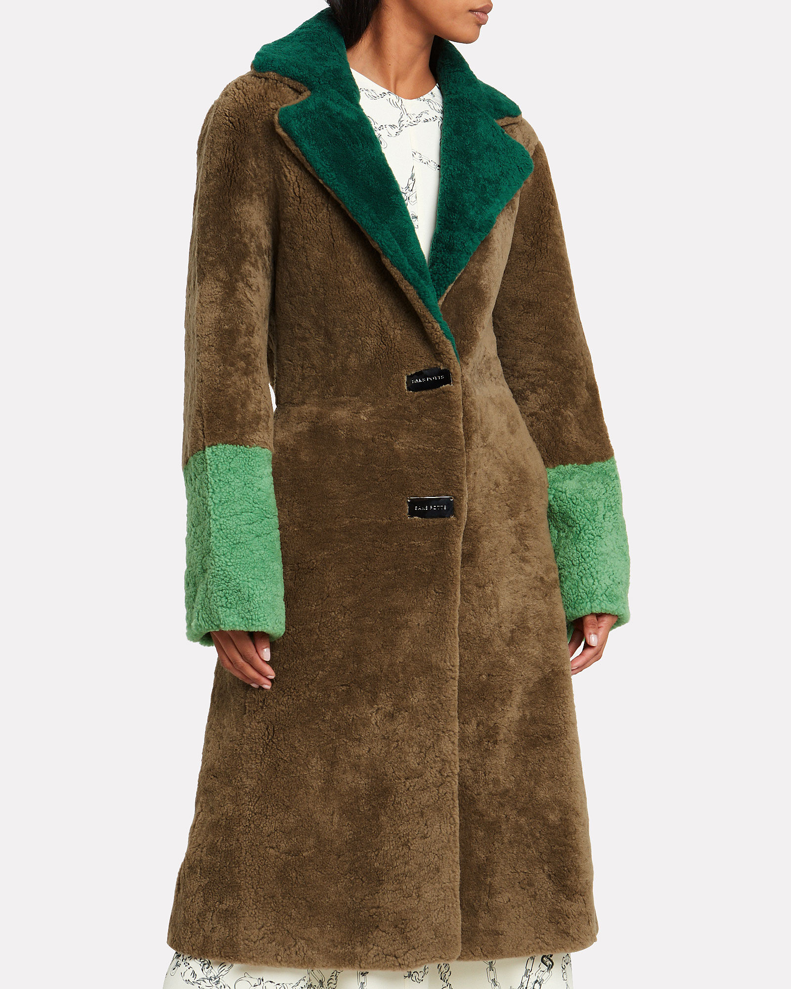 Febbe Colorblock Shearling Coat, COCOA/GREEN, hi-res