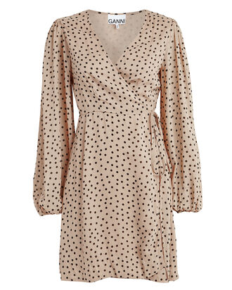 Polka Dot Georgette Wrap Dress, BEIGE/POLKA DOT, hi-res