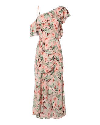 Jamima Ruched Midi Dress, BLUSH, hi-res
