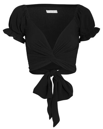 Annabelle Cropped Wrap Top, BLACK, hi-res
