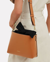 Claire Bi-Color Leather Bag, BROWN/BLACK, hi-res