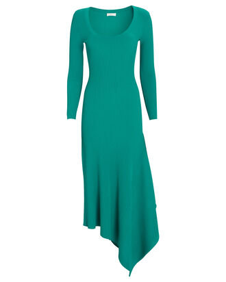 Olivia Asymmetrical Rib Knit Midi Dress, GREEN, hi-res