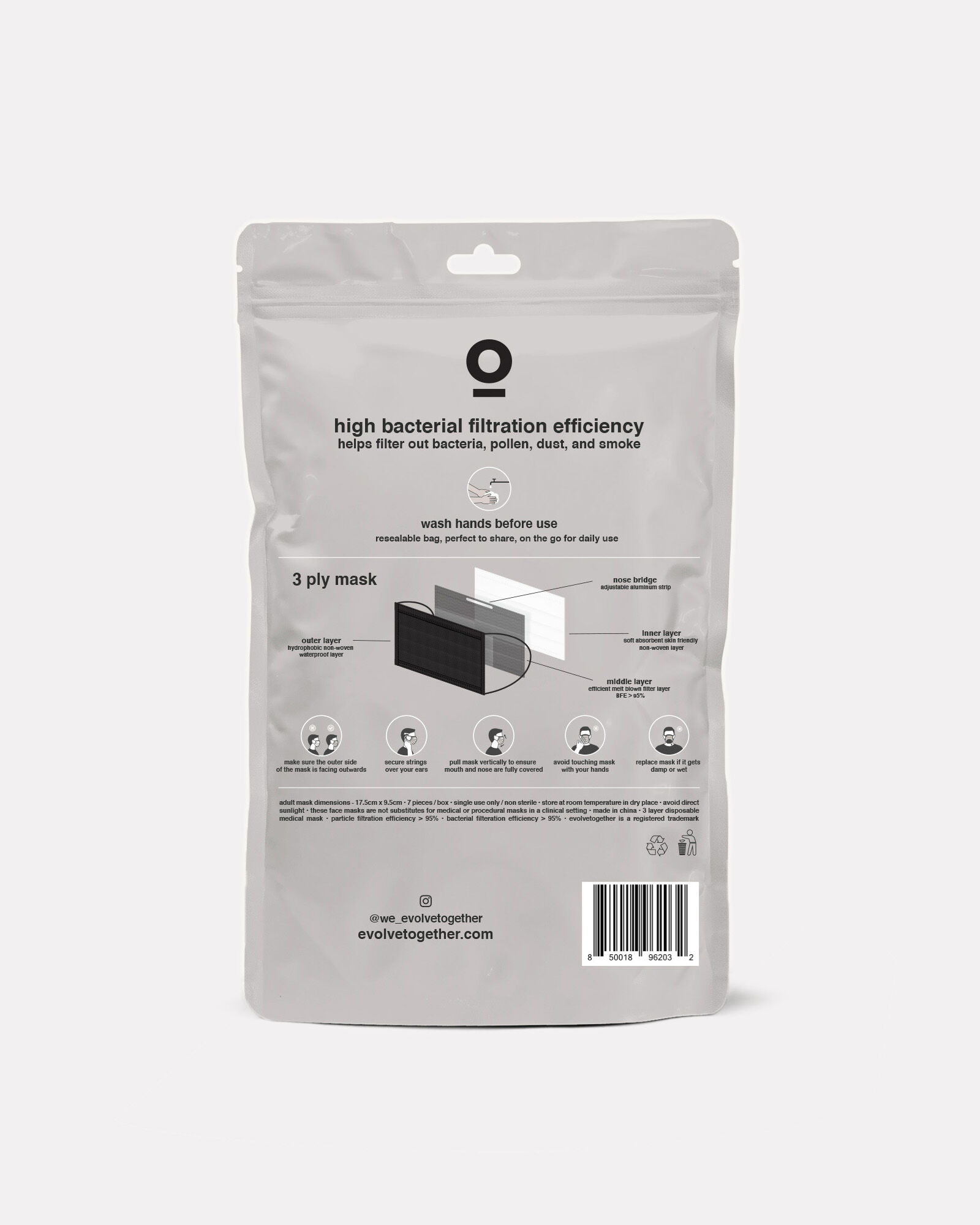 Disposable Face Mask 7-Pack, BLACK, hi-res