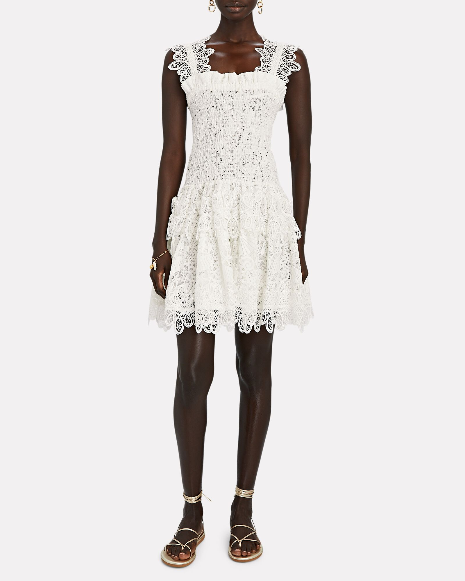 Joy Smocked Lace Mini Dress, WHITE, hi-res
