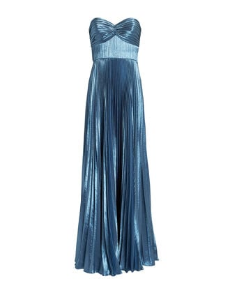 Sapphire Blue Pleated Strapless Gown, BLUE-MED, hi-res