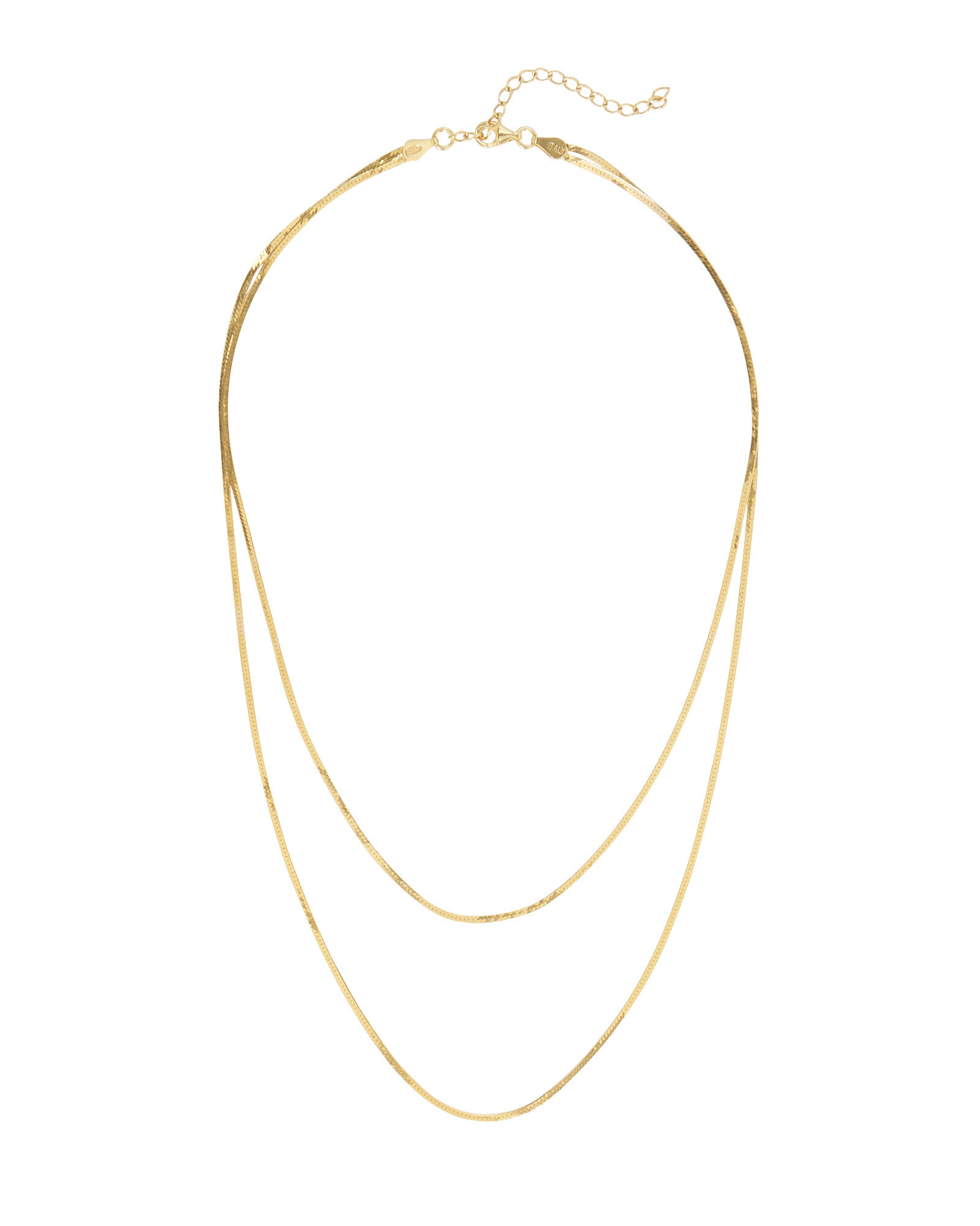 Double Row Herringbone Chain Necklace, GOLD, hi-res